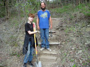 stone step added to Byers Trail Entrance